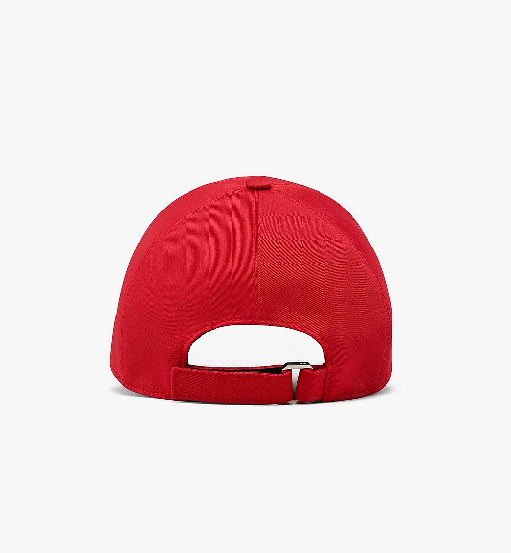 MCM Classic Logo Cotton Cap Red MECAAMM01R4001 Alternate View 1