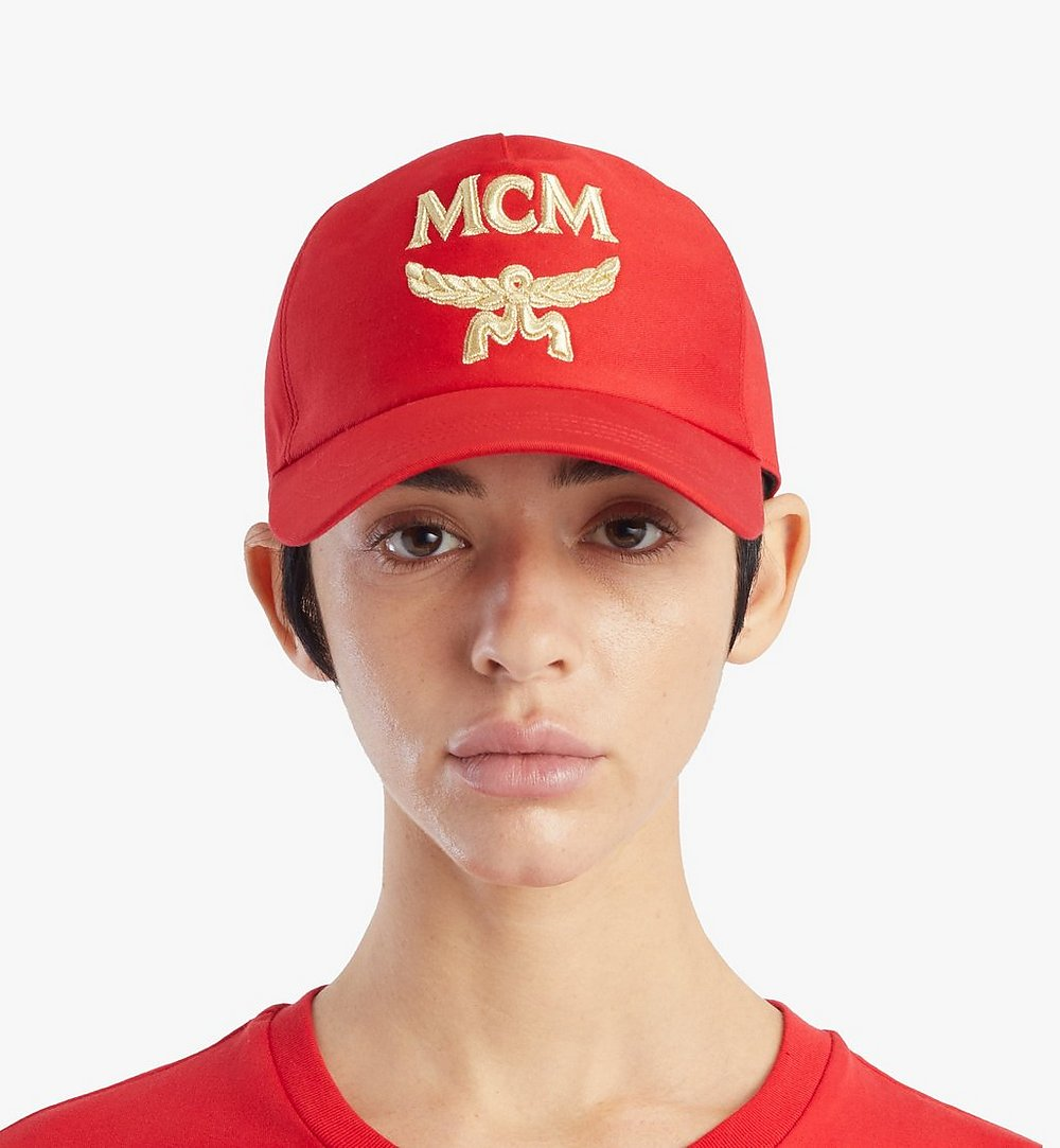 MCM Classic Logo Cotton Cap Red MECAAMM01R4001 Alternate View 2