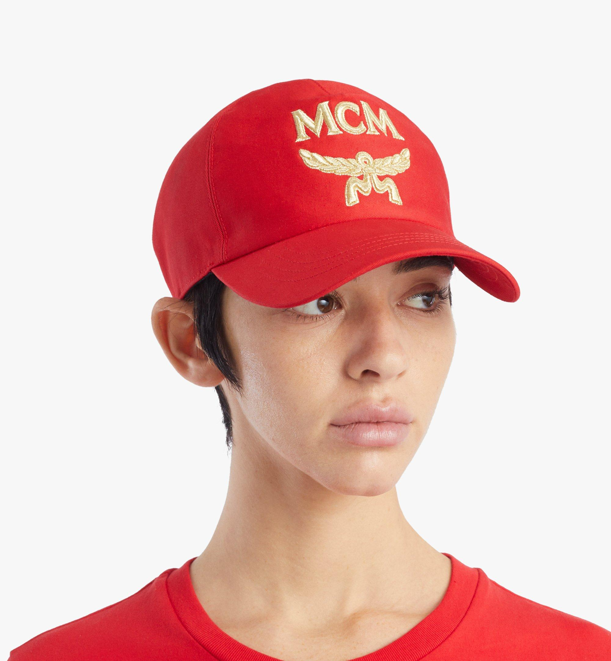 MCM Classic Logo Cotton Cap Red MECAAMM01R4001 Alternate View 2