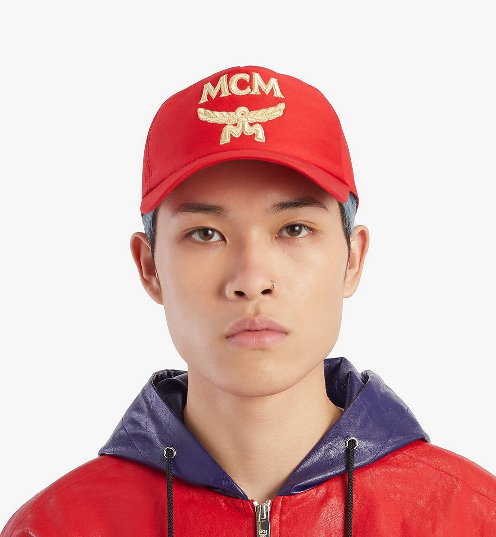 MCM Classic Logo Cotton Cap Red MECAAMM01R4001 Alternate View 3