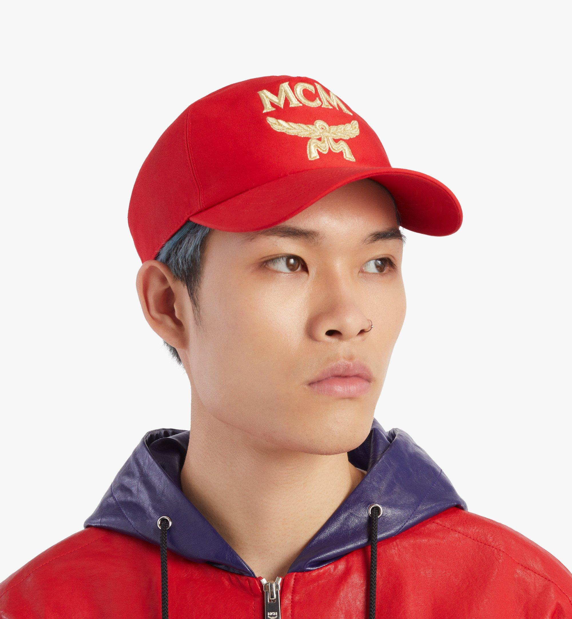 MCM Classic Logo Cotton Cap Red MECAAMM01R4001 Alternate View 4