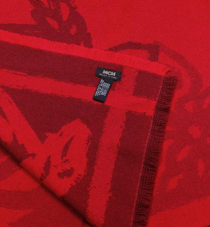 MCM Logo Print Jacquard Scarf Red MEF9AMM05RU001 Alternate View 2