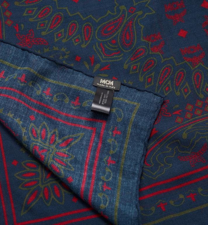 MCM Paisley Print Wool Scarf Blue MEF9AMM07VS001 Alternate View 2