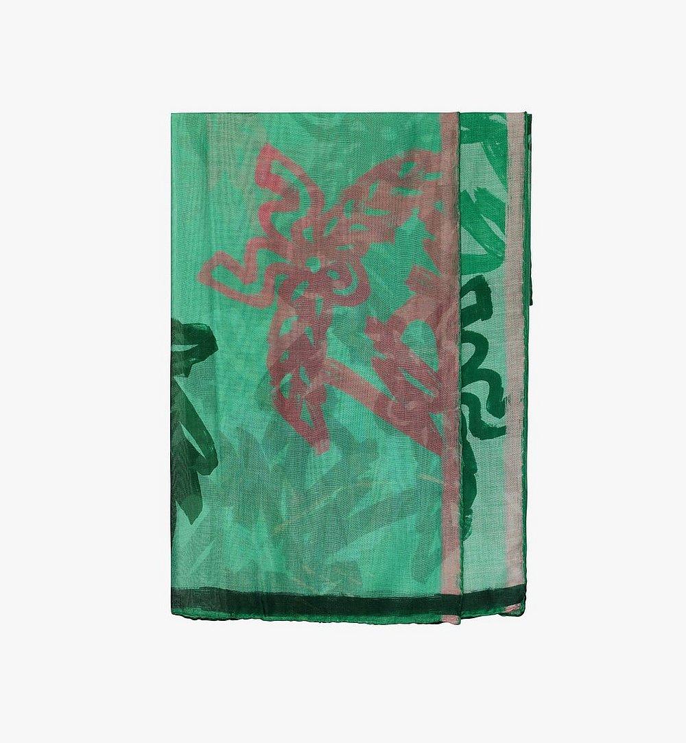 MCM Allover Logo Print Scarf Green MEF9AMM09G7001 Alternate View 1