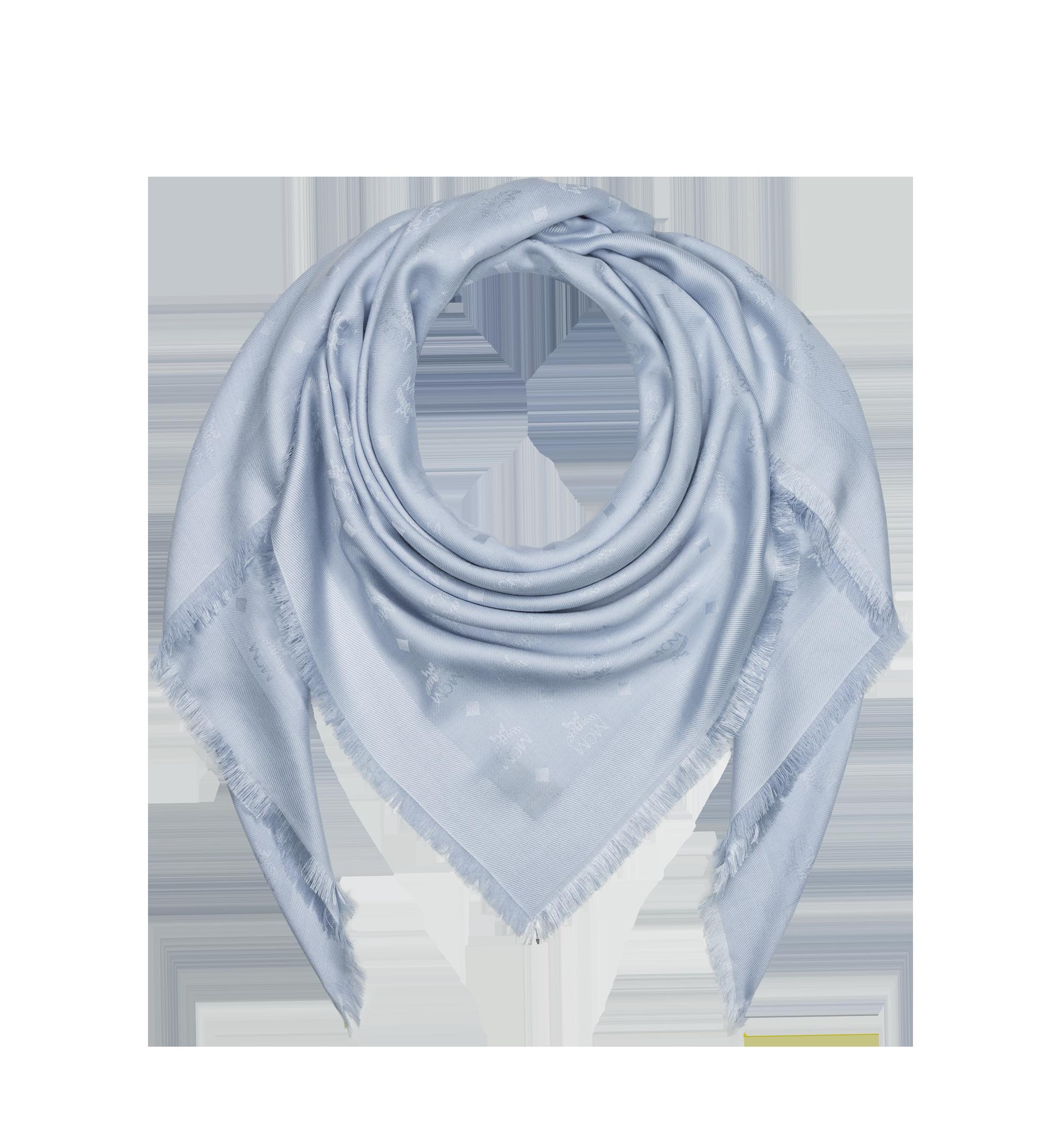 MCM Jacquard-Schal aus Seide und Wolle mit Monogramm Grey MEF9SMM01FB001 Alternate View 1