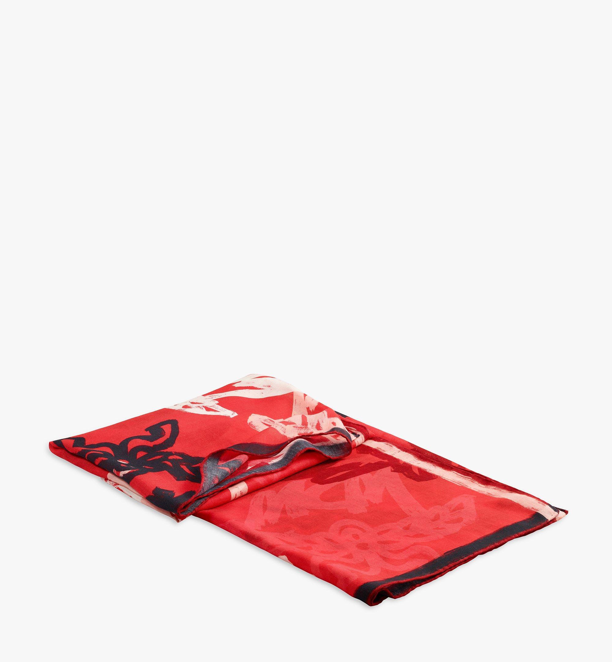 MCM Abstract Monogram Wool Scarf Red MEFAAMM02RP001 Alternate View 2