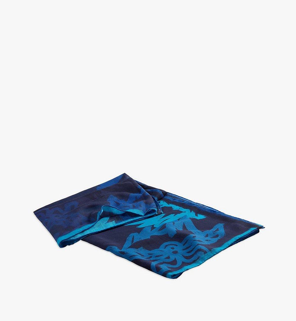 MCM Abstract Monogram Wool Scarf Blue MEFAAMM02VU001 Alternate View 1