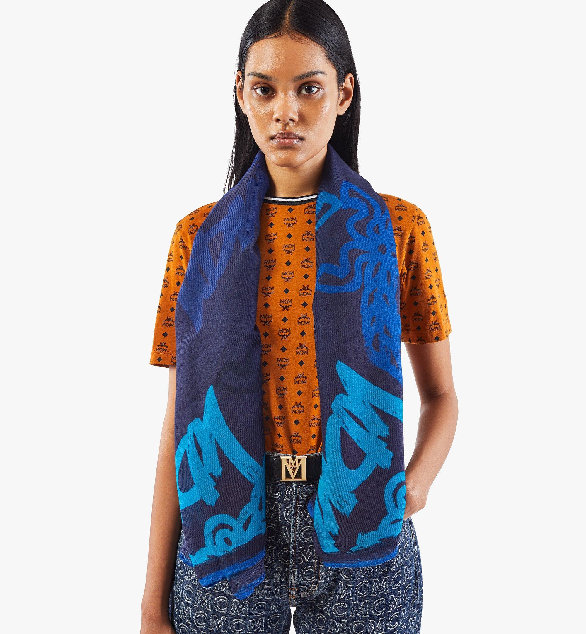 MCM Abstract Monogram Wool Scarf Blue MEFAAMM02VU001 Alternate View 4