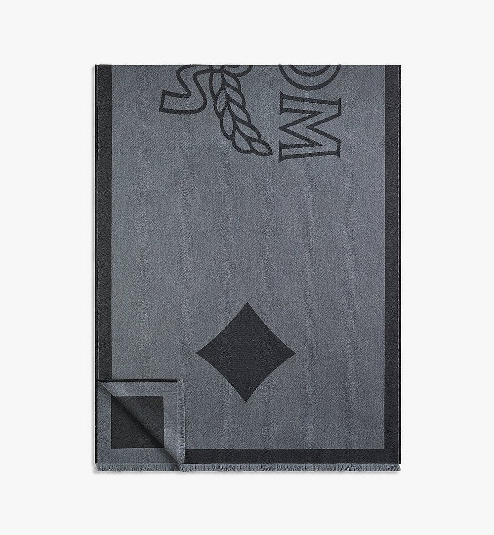 MCM Classic Logo Wool Stole Black MEFAAMM03BK001 Alternate View 1