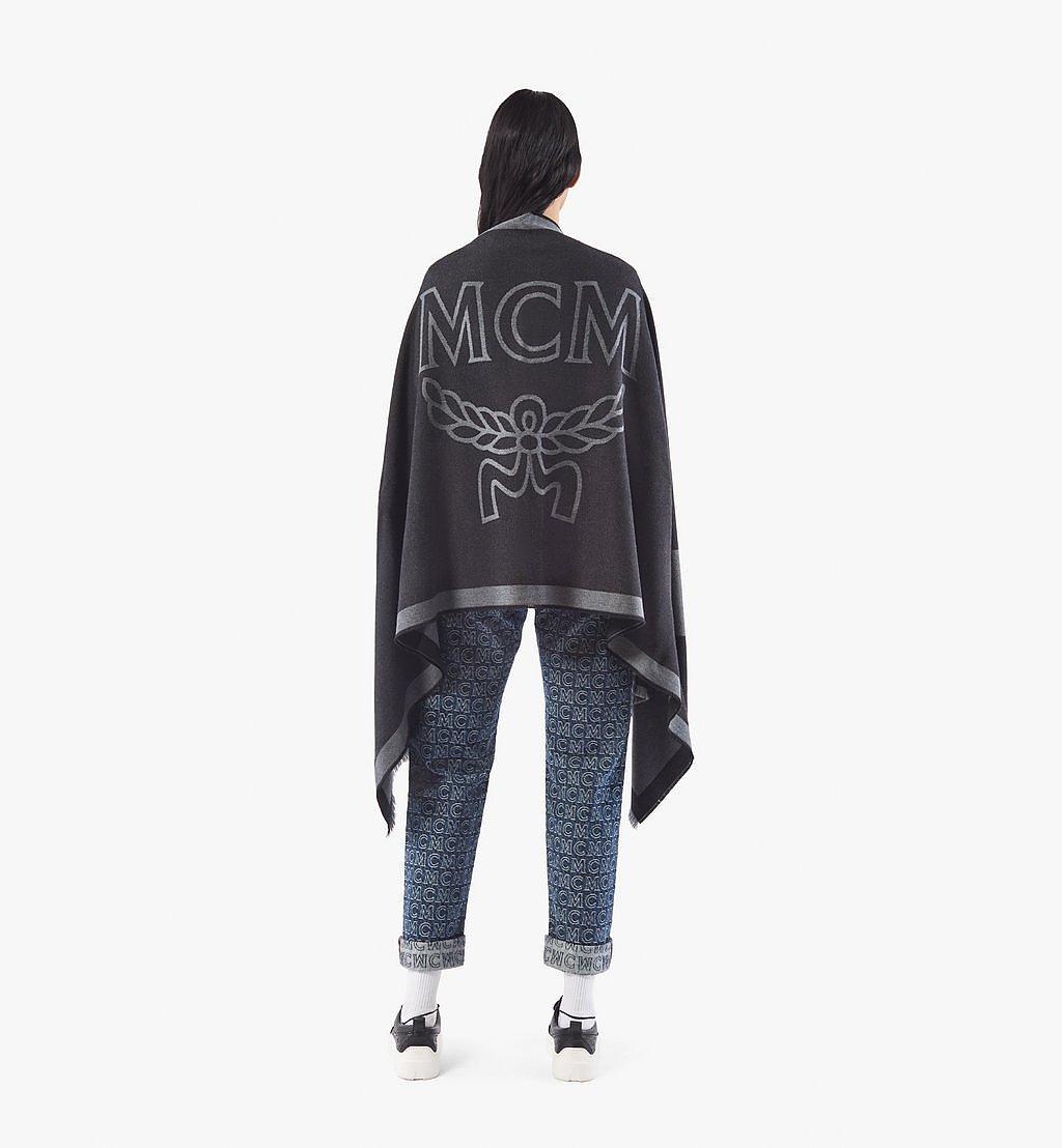 MCM Classic Logo Wool Stole Black MEFAAMM03BK001 Alternate View 2