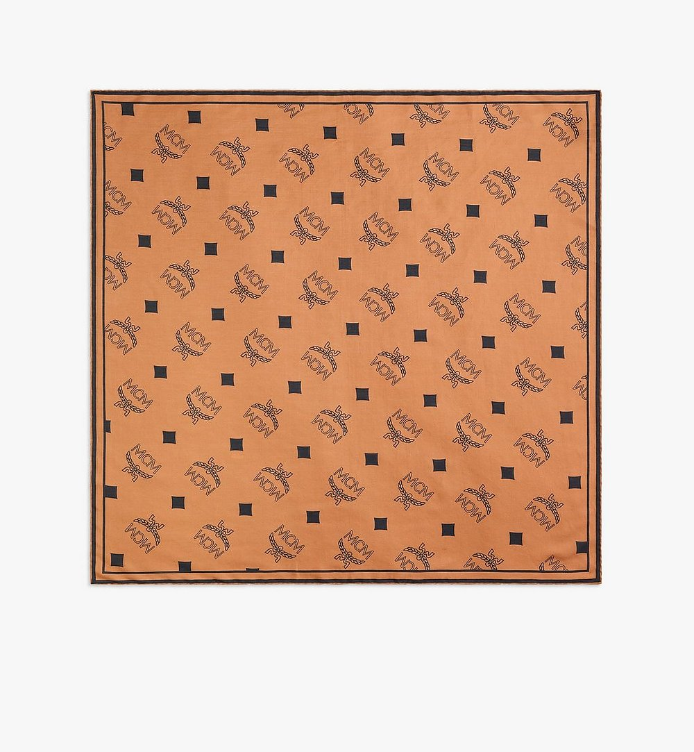 MCM Monogram Print Bandana Scarf Cognac MEFAAMM08CO001 Alternate View 1