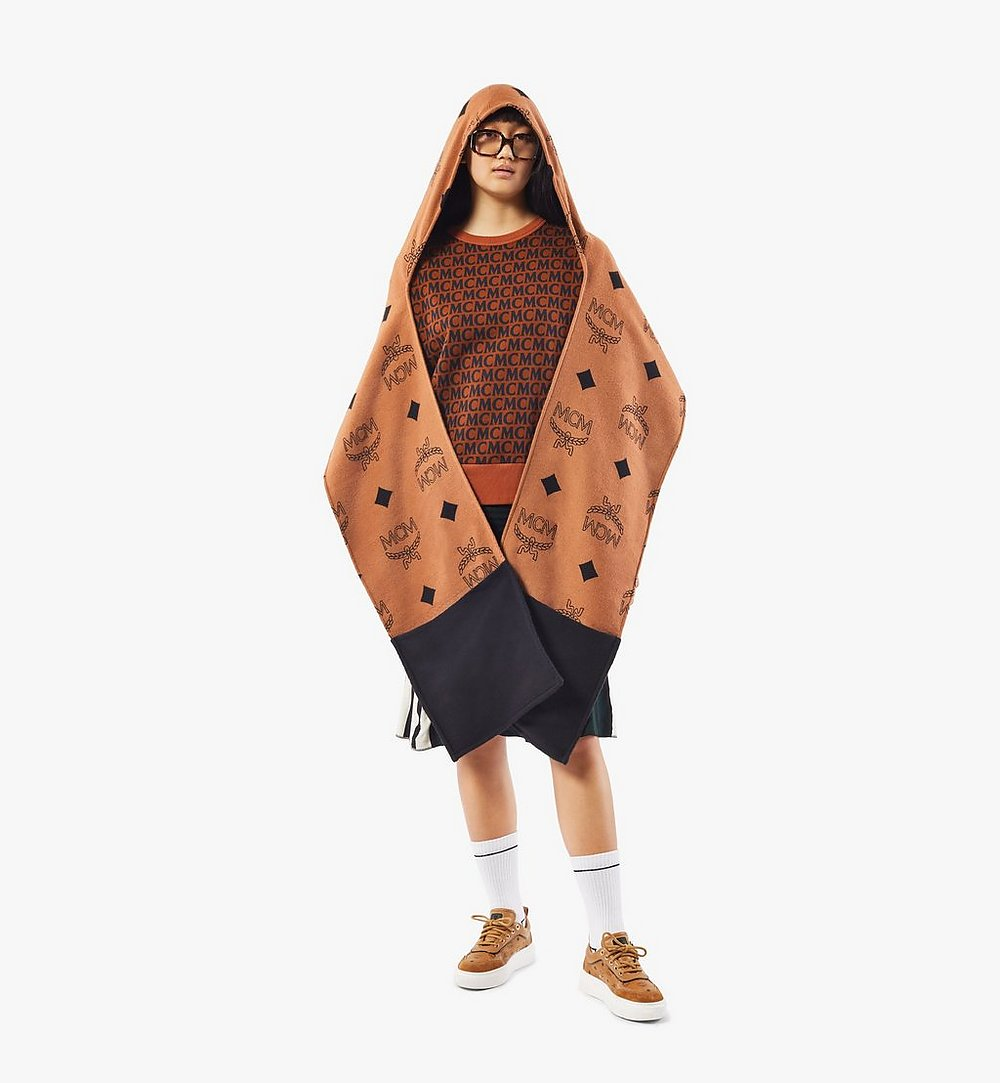 MCM Hooded Monogram Poncho Cognac MEFAAMM14CO001 Alternate View 2