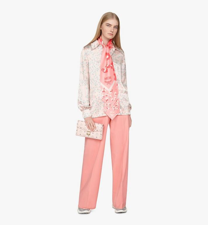 MCM Floral Leopard Silk Twilly Scarf Pink MEFASSE05QG001 Alternate View 3