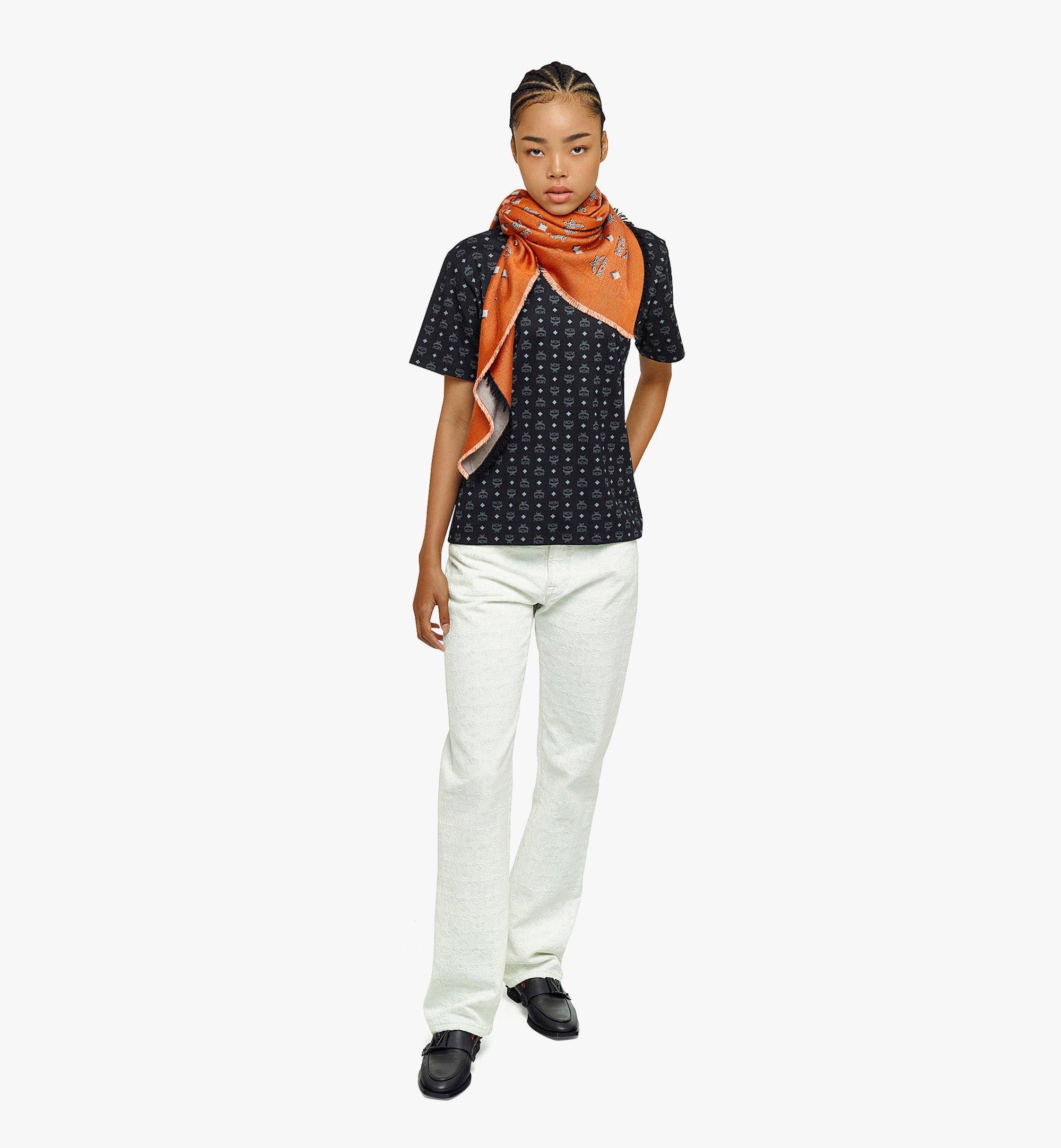 MCM 双色提花经典花纹围巾 Orange MEFBAMM01O9001 更多视角 3