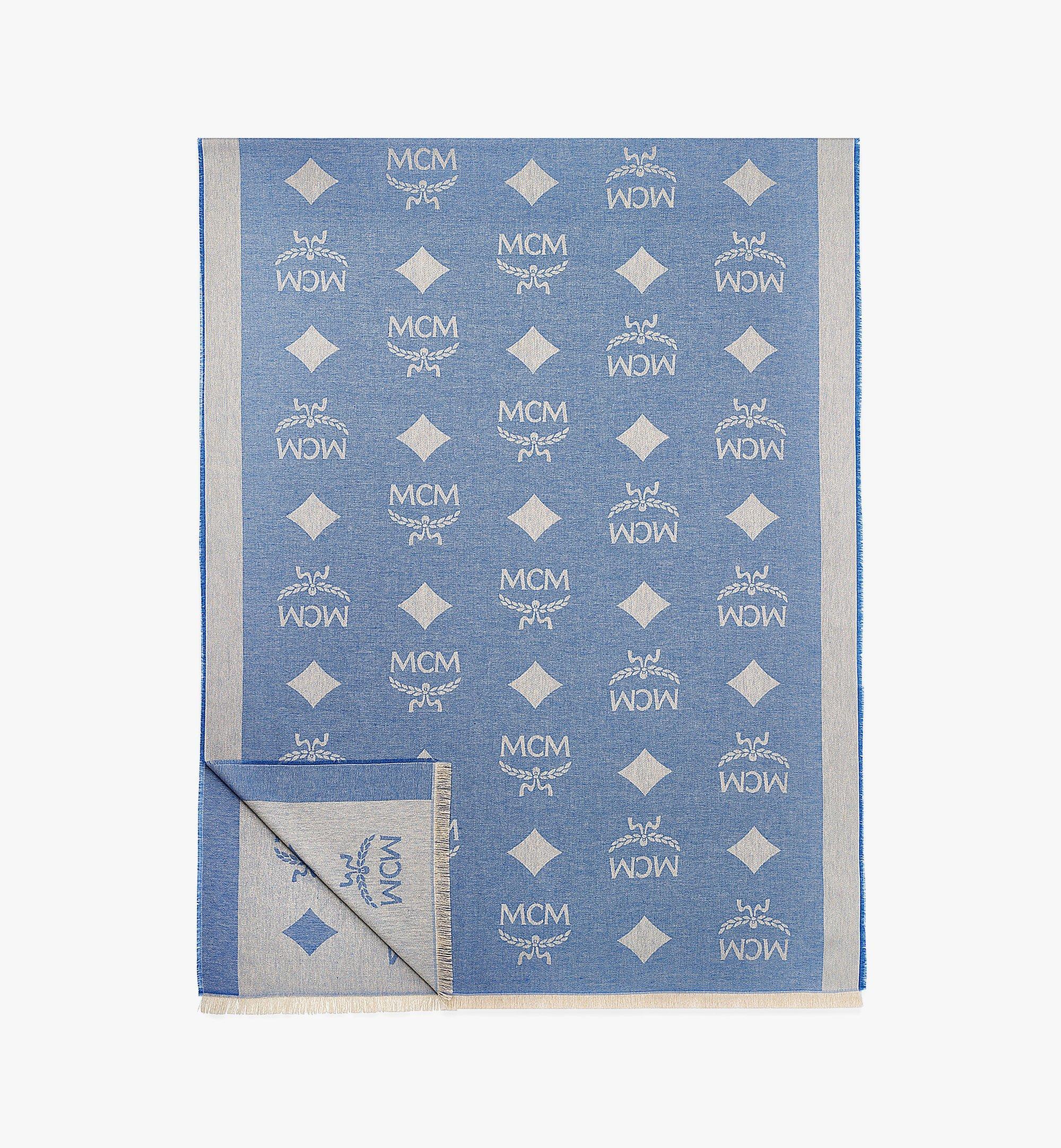 MCM Vintage Jacquard Monogram Silk Stole Blue MEFBATQ01LU001 Alternate View 1