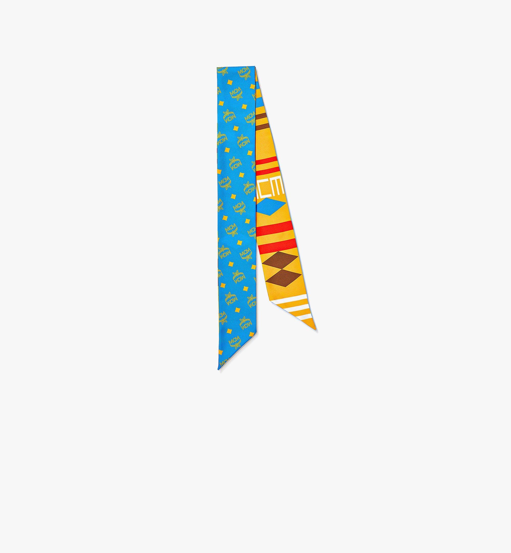 MCM Geo 塗鴉真絲斜紋圍巾 Blue MEFBSMM10H7001 更多視圖 1