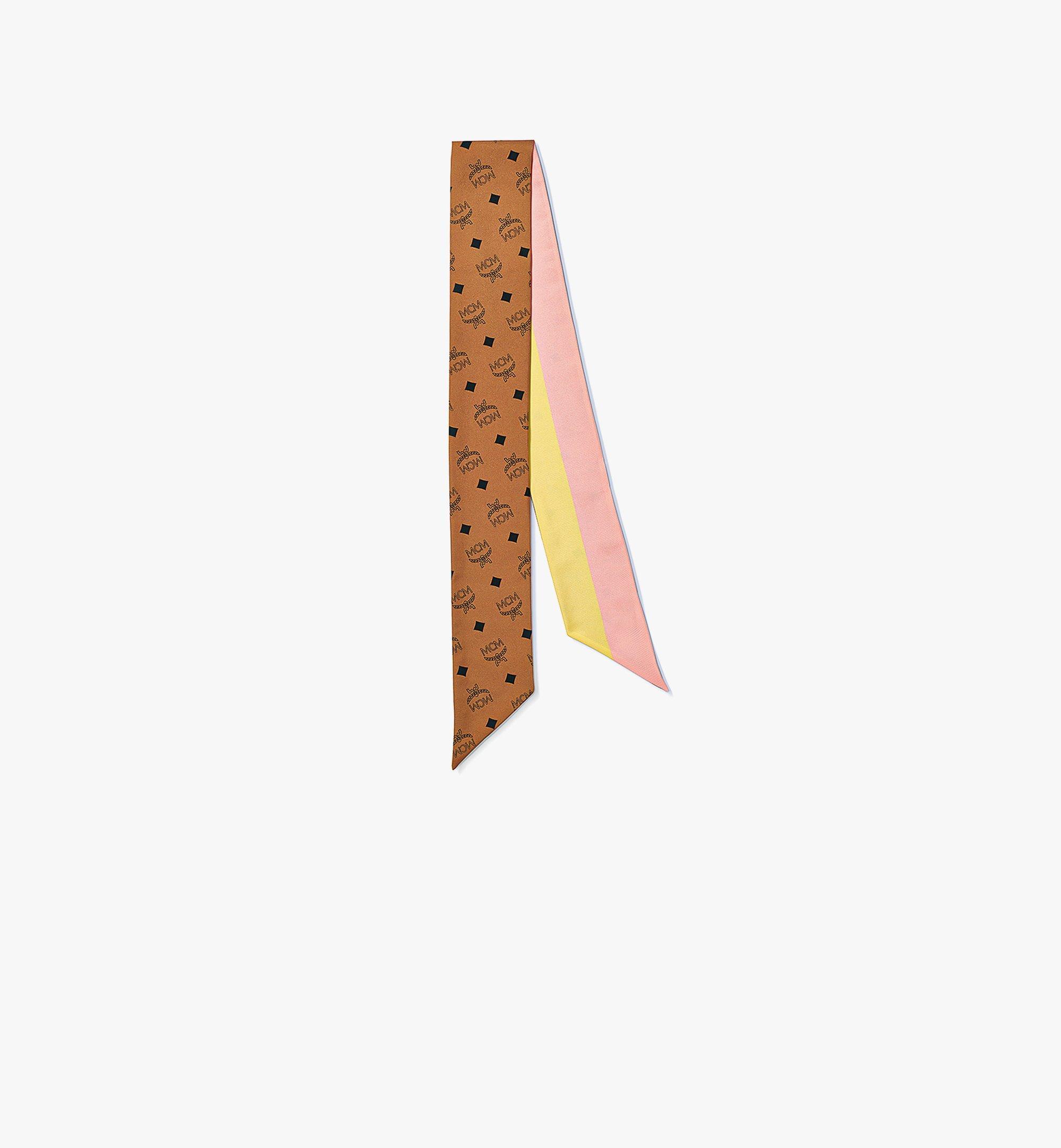 MCM 縮寫字母圖案絲質斜紋圍巾 Cognac MEFBSMM11CO001 更多視圖 1
