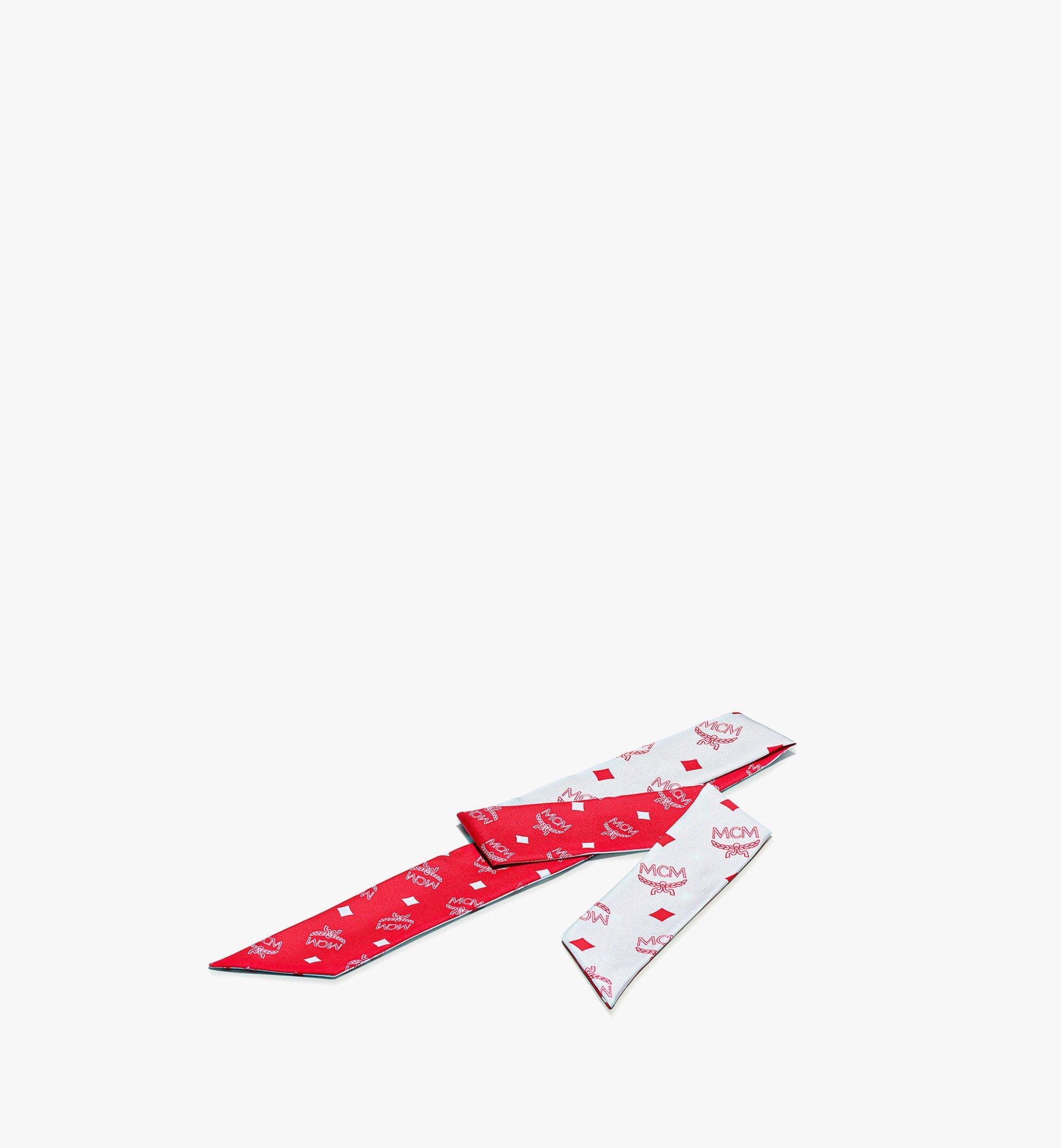 MCM 花押字圖案真絲斜紋圍巾 Red MEFBSMM12R4001 更多視圖 1