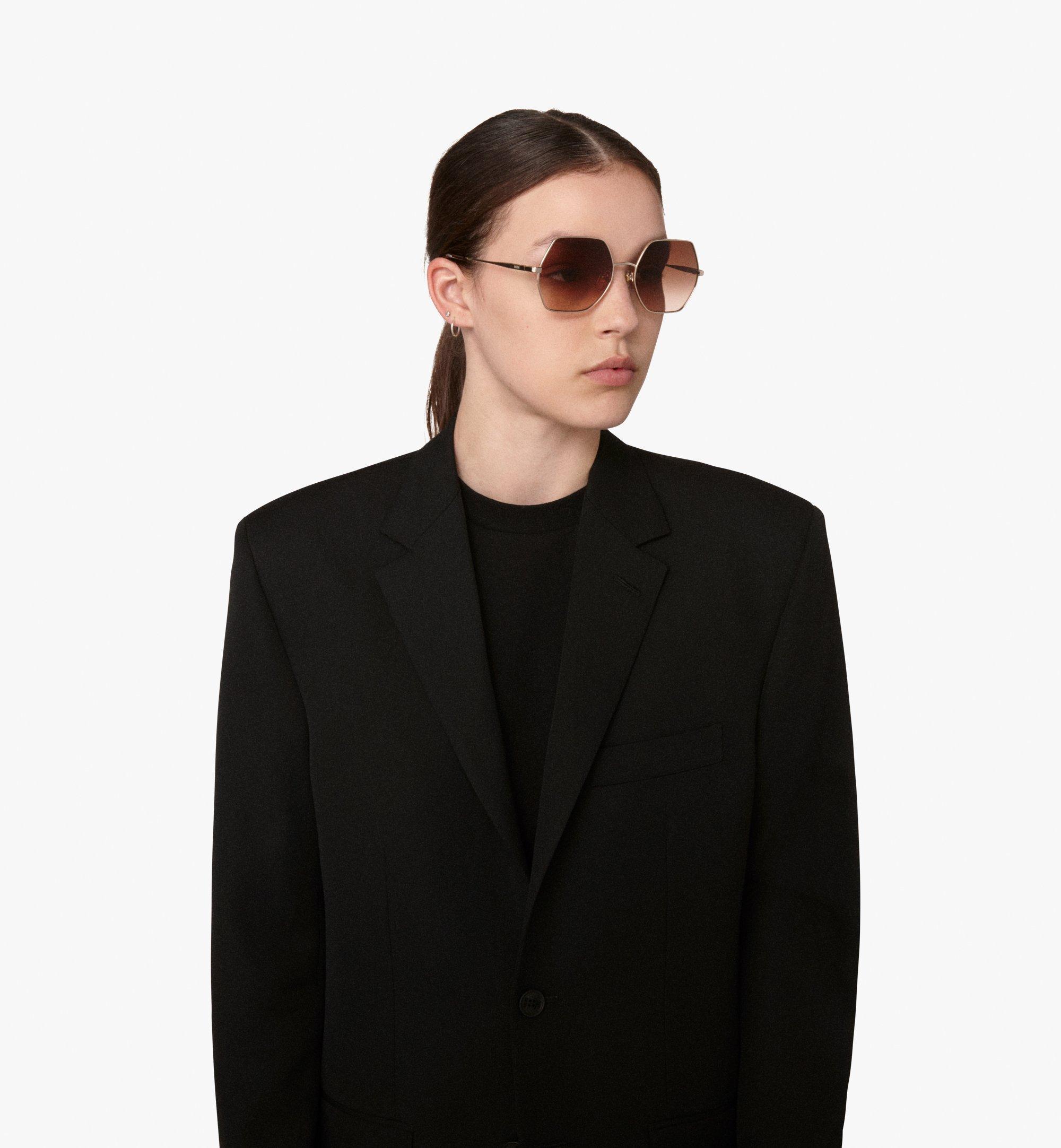 MCM Geometric Oversized Sunglasses Brown MEG9A2I06NR001 Alternate View 3