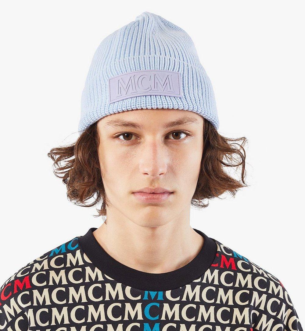 MCM Logo Patch Wool Beanie Blue MEH9AMM01H4001 Alternate View 3