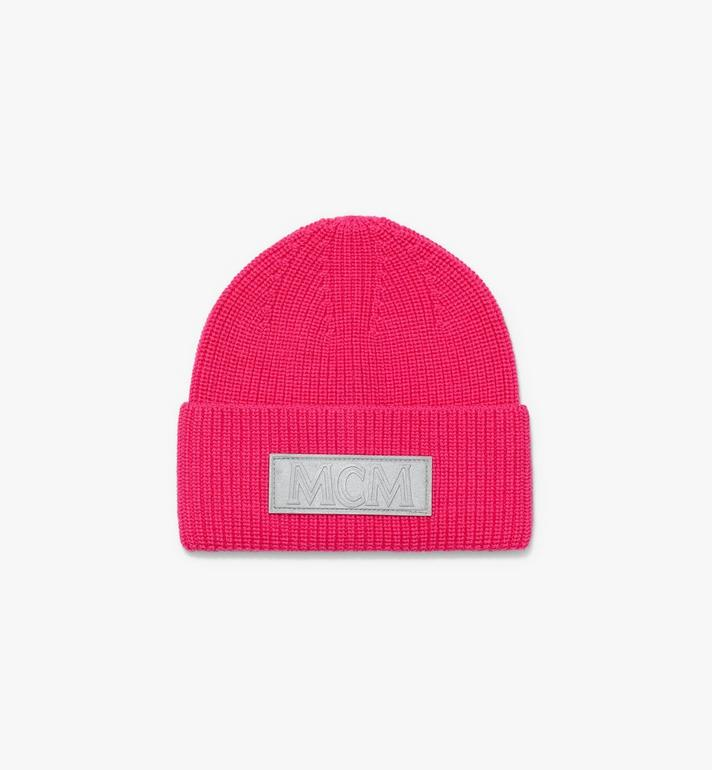 MCM Logo Patch Wool Beanie Pink MEH9AMM01QF001 Alternate View 2