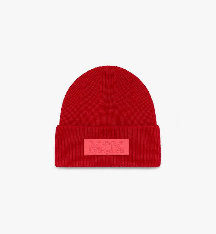 MCM Logo Patch Wool Beanie Red MEH9AMM01R4001 Alternate View 1