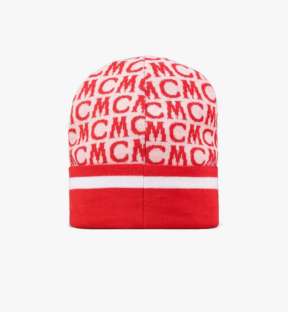MCM MCM Monogram Wool Beanie Pink MEHAAMD01QK001 Alternate View 1