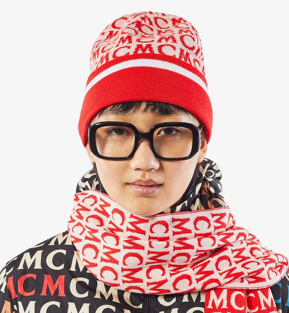 MCM MCM Monogram Wool Beanie Pink MEHAAMD01QK001 Alternate View 2