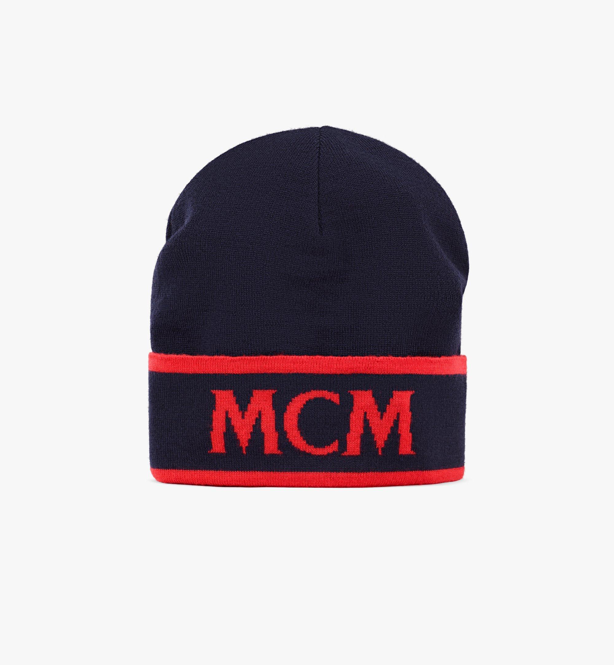 MCM Contrast Logo Wool Beanie Blue MEHAAMD02VU001 Alternate View 1
