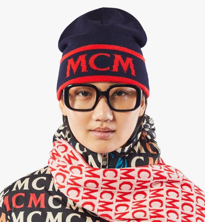 MCM Wollmütze mit kontrastierendem Logo Black MEHAAMD02VU001 Alternate View 3