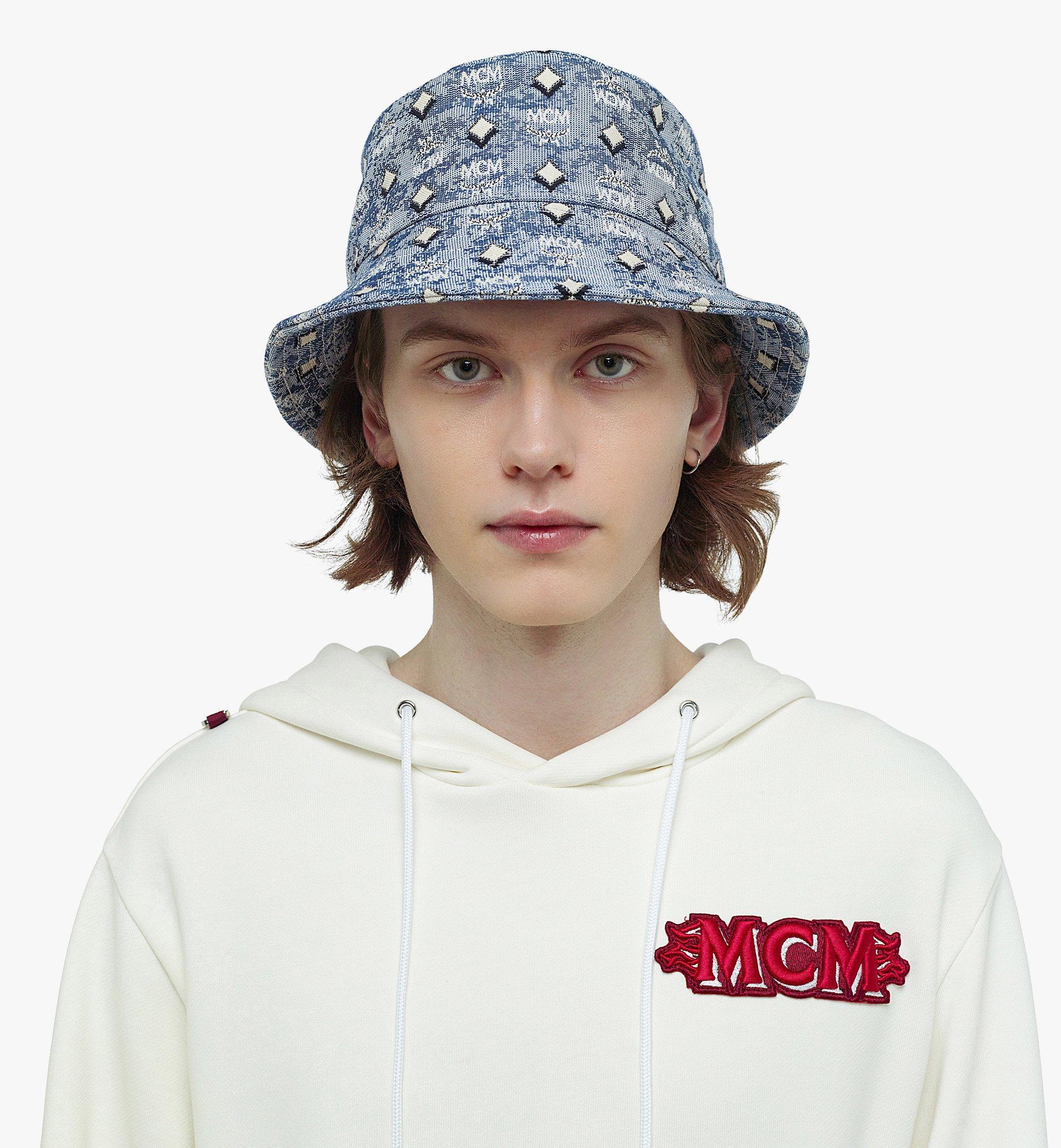 MCM Bucket Hat in Vintage Jacquard Monogram Blue MEHBATQ01LU001 Alternate View 3