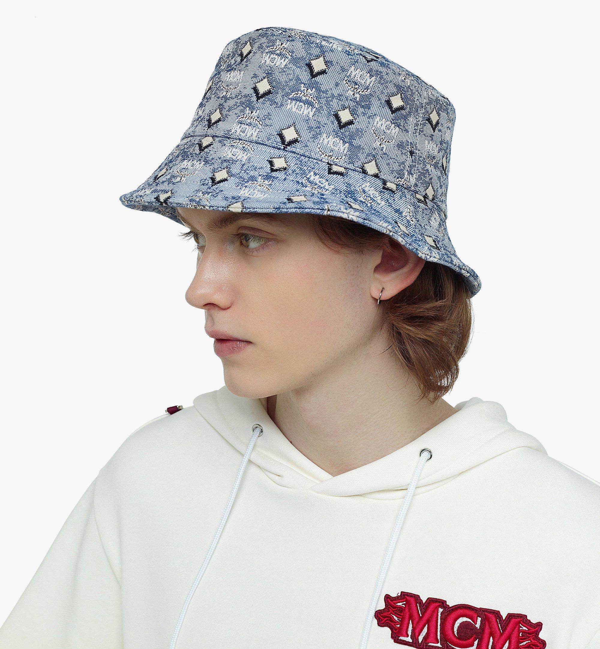 MCM Bucket Hat in Vintage Jacquard Monogram Blue MEHBATQ01LU001 Alternate View 2