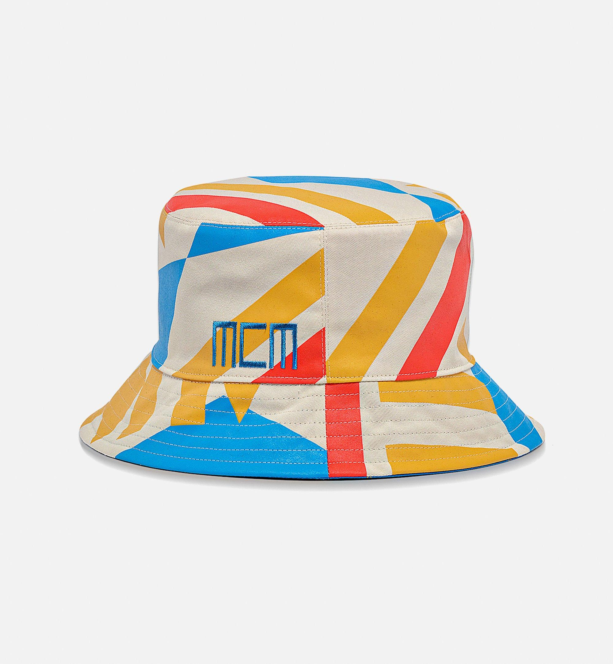 MCM Reversible Bucket Hat in Geo Graffiti Cotton Blue MEHBSSX01H7001 Alternate View 1