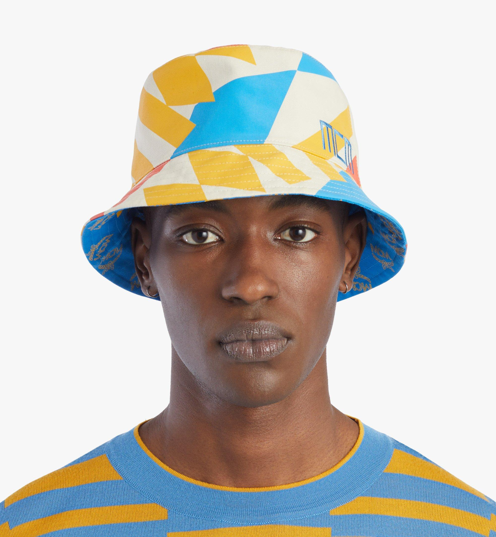 MCM Reversible Bucket Hat in Geo Graffiti Cotton Blue MEHBSSX01H7001 Alternate View 2