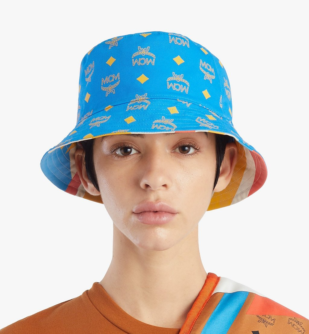 MCM Reversible Bucket Hat in Geo Graffiti Cotton Blue MEHBSSX01H7001 Alternate View 3