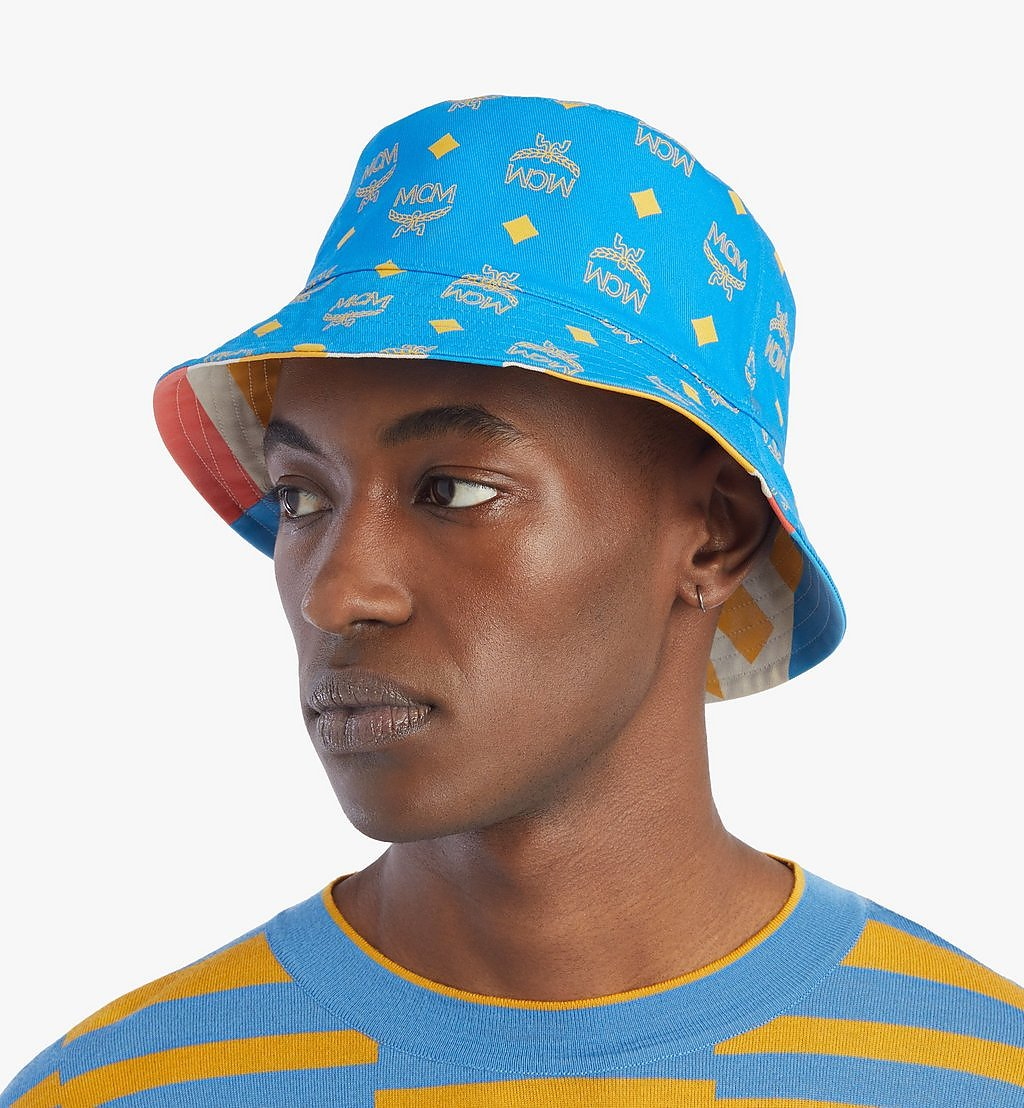 MCM Reversible Bucket Hat in Geo Graffiti Cotton Blue MEHBSSX01H7001 Alternate View 4