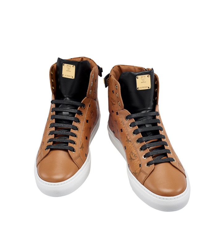 MCM Women's High Top Turnlock Sneakers in Visetos AlternateView4