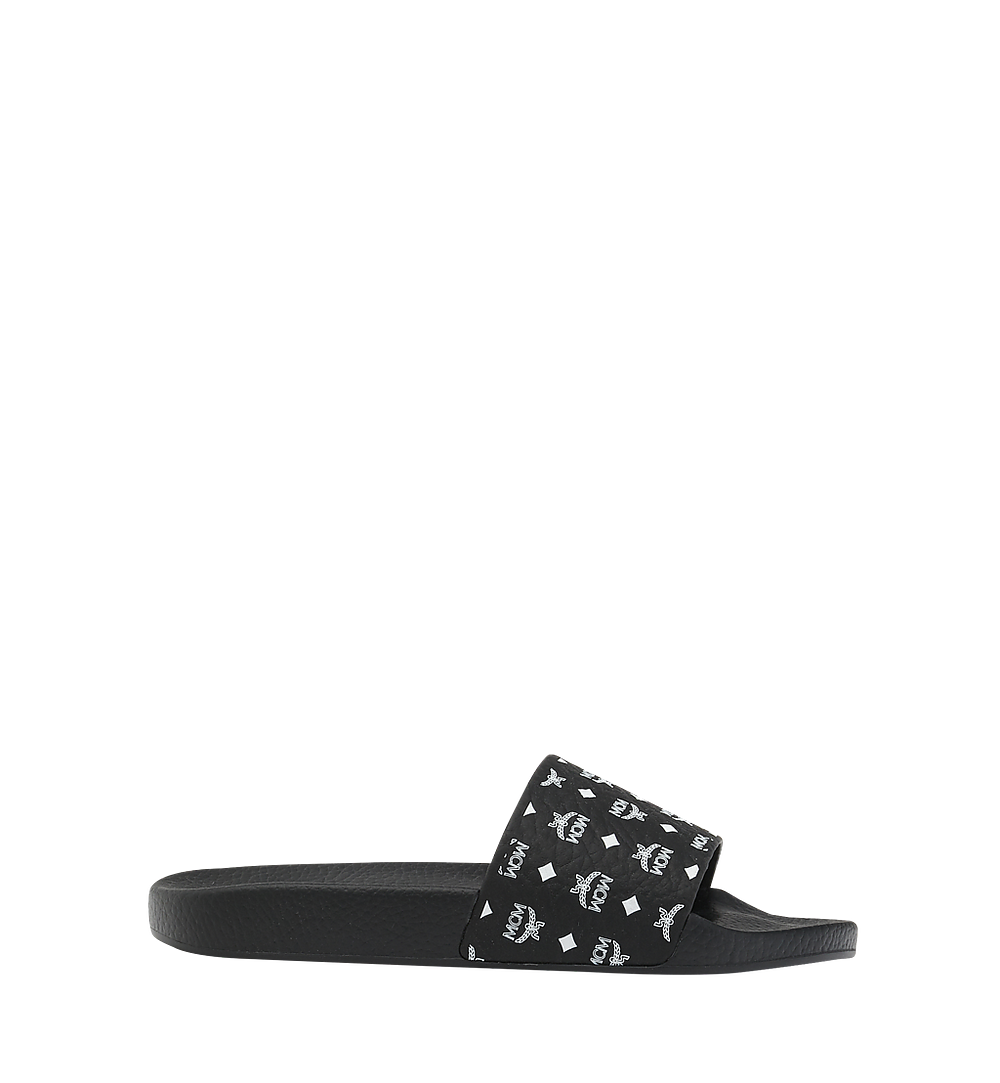 MCM Women's Slides in Monogram Rubber Black MES8AMM60BK036 Alternate View 1