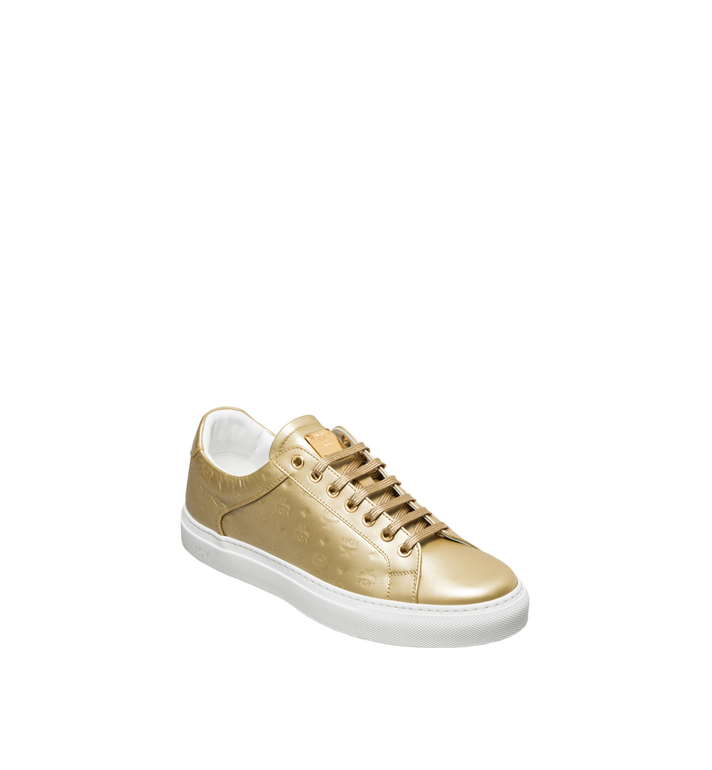 MCM Women's Low Top Classic Sneakers in Monogram Leather Gold MES8SMM09DB035 Alternate View 2