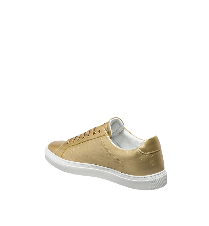 MCM Women's Low Top Classic Sneakers in Monogram Leather Gold MES8SMM09DB035 Alternate View 3