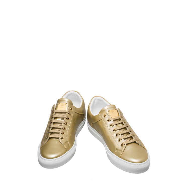 MCM Women's Low Top Classic Sneakers in Monogram Leather Gold MES8SMM09DB035 Alternate View 4