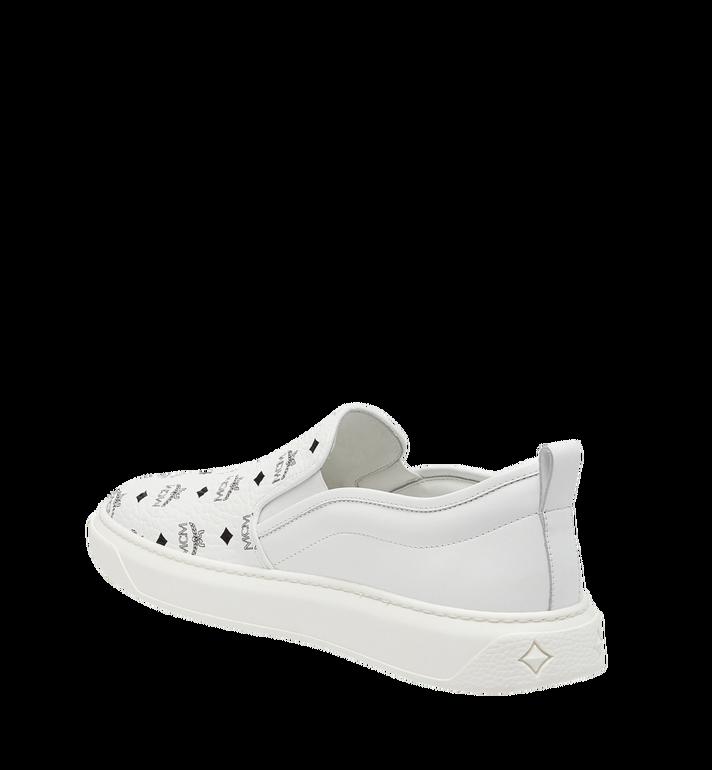 MCM Women's Slip On Diamond Sole Sneakers in Visetos MES8SMM22WT039 AlternateView2