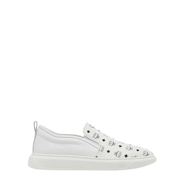 MCM Women's Slip On Diamond Sole Sneakers in Visetos MES8SMM22WT039 AlternateView3