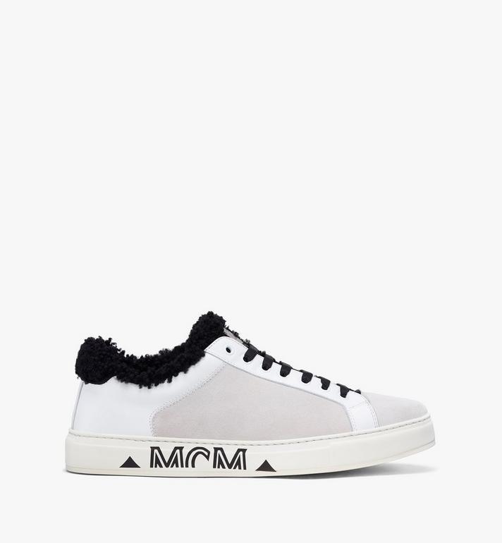 MCM Milano Low-Top Shearling Sneakers White MES9ADA02WT036 Alternate View 2