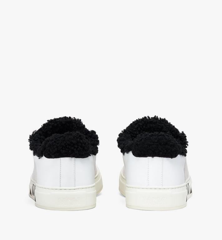 MCM Milano Low-Top Shearling Sneakers White MES9ADA02WT036 Alternate View 3