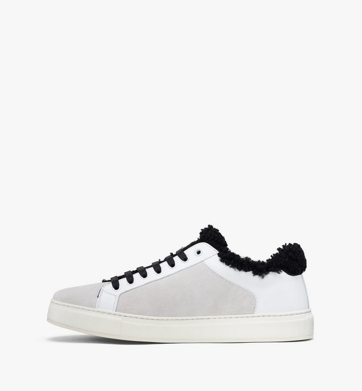 MCM Milano Low-Top Shearling Sneakers White MES9ADA02WT036 Alternate View 4