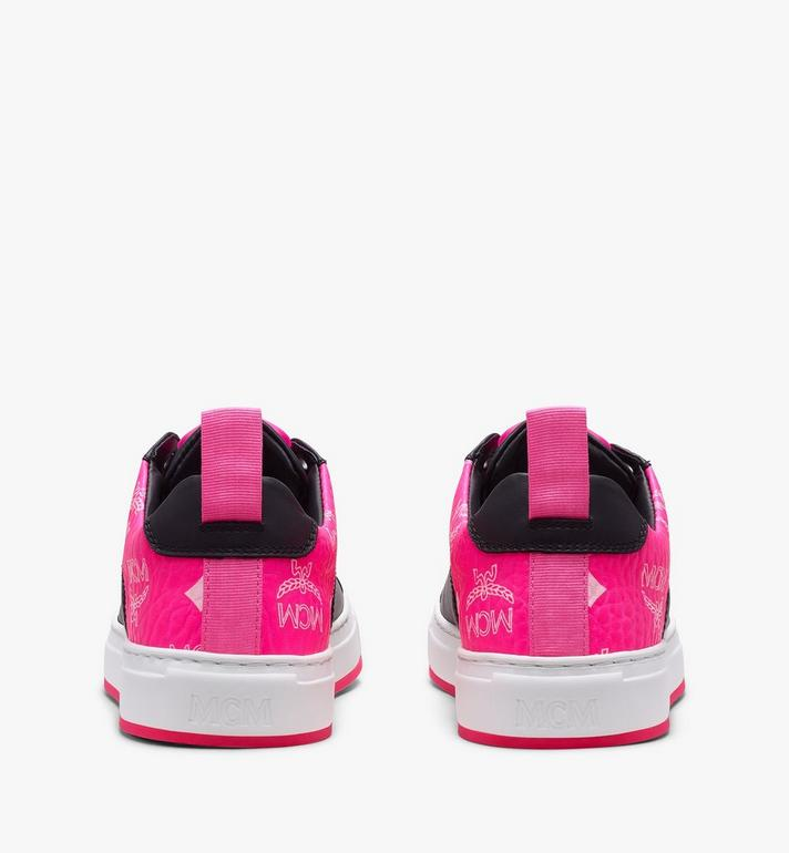 MCM Women's Flo Low-Top Sneakers in Neon Visetos  MES9ALC67BK036 Alternate View 3