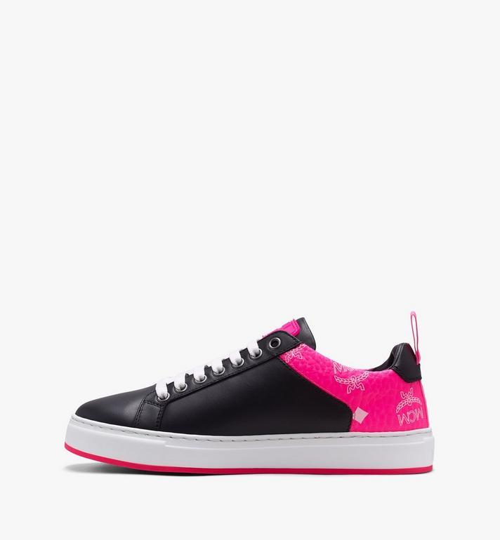 MCM Women's Flo Low-Top Sneakers in Neon Visetos  MES9ALC67BK036 Alternate View 4