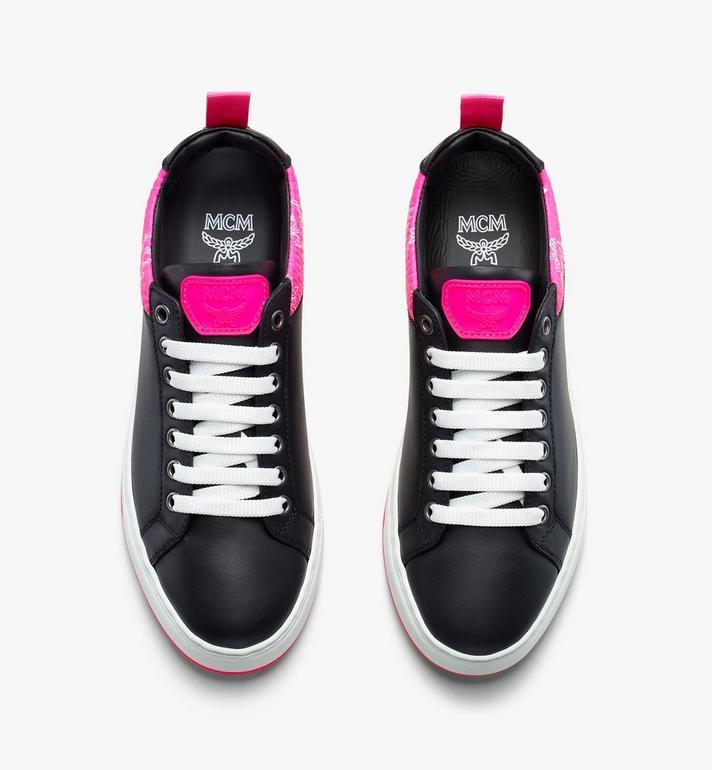 MCM Women's Flo Low-Top Sneakers in Neon Visetos  MES9ALC67BK036 Alternate View 5