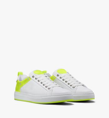 MCM Women's Flo Low-Top Sneakers in Neon Visetos White MES9ALC67WT037 Alternate View 1